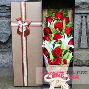 恋情-鲜花19朵红玫瑰3枝多头百合礼盒