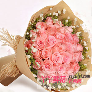 生日33枝粉玫瑰鮮花預訂