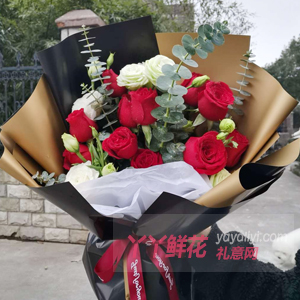 母亲节送11朵红玫瑰搭配桔梗花尤加利