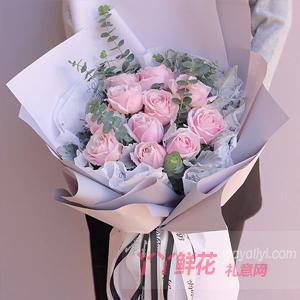 11朵粉雪山玫瑰搭配尤加...