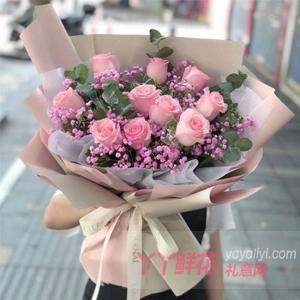 11朵粉色玫瑰搭配粉色满...