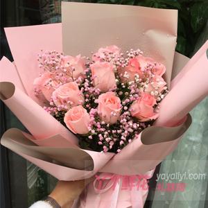 11朵粉玫瑰粉色滿天星點...