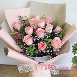 鮮花網站12朵粉玫瑰