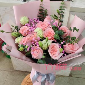 11朵戴安娜粉玫瑰搭配洋桔梗粉色满天星尤加利