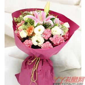 思思情切-9朵康乃馨1朵百合3朵橘色玫瑰