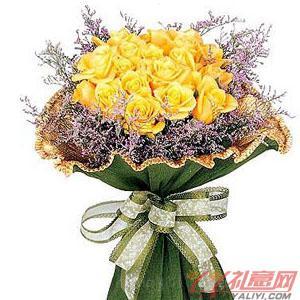 網站訂花18朵黃玫瑰