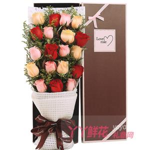7朵戴安娜粉玫瑰6朵红玫...