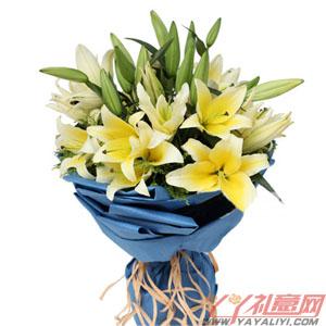 阳光心情 - 送花10枝黄百合