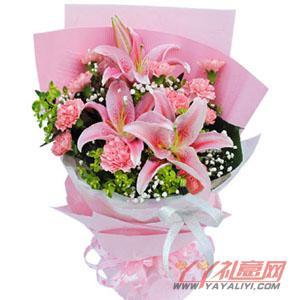 送妈妈生日2枝多头百合11枝粉康乃馨