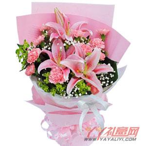 奶奶生日送2枝多頭百合11枝粉康乃馨