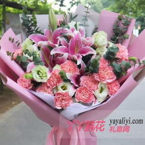 牵挂的季节-19朵粉色康乃馨6朵粉色百合桔梗
