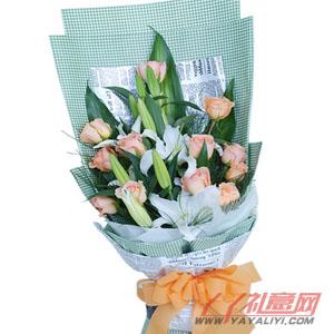 微风-鲜花网站订花12枝香槟玫瑰2枝香水百合