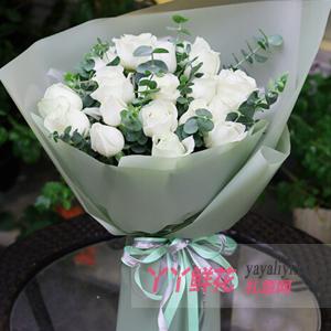 19朵白玫瑰配尤加利葉
