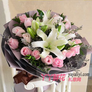 19朵粉玫瑰6朵百合