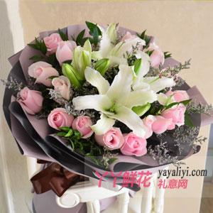 守護幸福-19朵粉玫瑰6朵百合