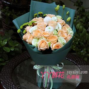 真情流露-19朵香檳玫瑰