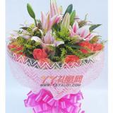 鲜花16枝粉玫瑰3枝多头粉香水百合