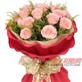 鲜花19枝粉玫瑰鲜花速递