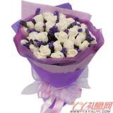 鲜花33枝白玫瑰情人节鲜花速递