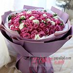 99朵紫色玫瑰白色洋桔梗