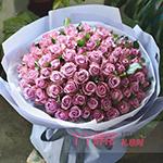 99朵紫色玫瑰适量绿叶
