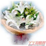 送花9朵粉玫瑰6枝白香水百合
