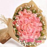 生日33枝粉玫瑰鲜花预订