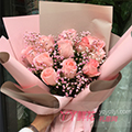 11朵粉玫瑰粉色滿天星點綴