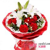 鮮花網11枝紅色康乃馨配多頭百合