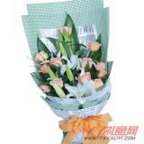 鲜花网站订花12枝香槟玫瑰2枝香水百合