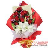 9朵红玫瑰2朵白香水百合