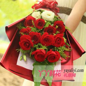 戀愛物語-鮮花11支紅玫瑰洋桔梗