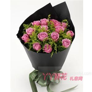 紫情可待-11朵紫玫瑰黄莺适量