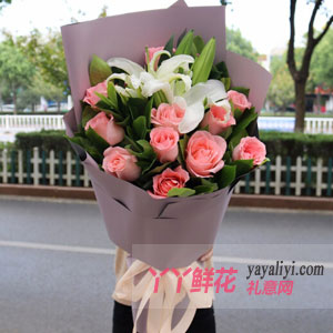 鮮花11只粉玫瑰3支香水百合