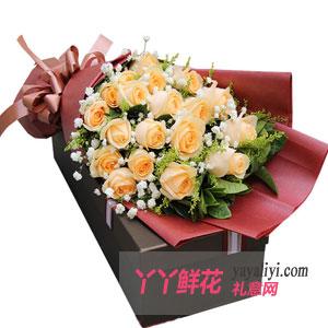 相思-鲜花19朵香槟玫瑰礼盒