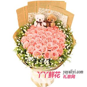 情窦初开-鲜花33朵粉玫瑰2小熊预订