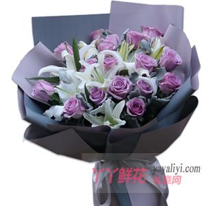 19朵紫色玫瑰8朵白百合...