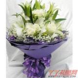 鲜花12支白玫瑰5支百合