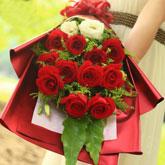 鮮花11支紅玫瑰洋桔梗
