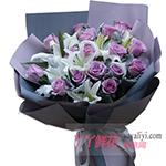 19朵紫色玫瑰8朵白百合适量银叶菊