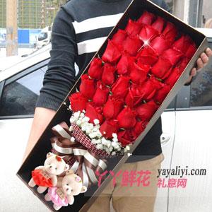 七夕节送33朵红玫瑰2小熊咖色礼盒给刚交往的女朋友