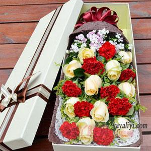 舞飞花丛间-9朵红色康乃馨10朵香槟玫瑰