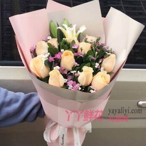 愛上你-11朵香檳玫瑰3朵白百合搭配相思梅梔子葉