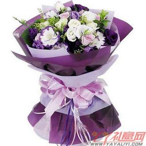 紫色诱惑-送花上门9枝戴安娜玫瑰9枝白玫瑰