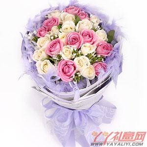 珍藏-花店10枝紫玫瑰15枝香檳玫瑰