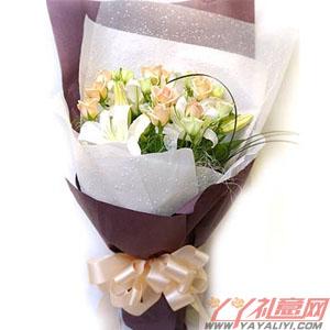 淡雅无闲-鲜花10枝香槟玫瑰1枝百合