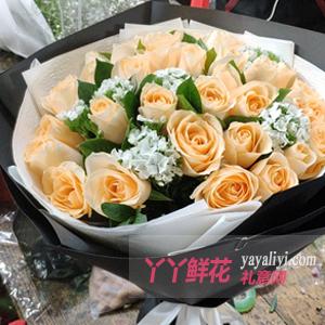 33朵香槟色玫瑰栀子叶石...