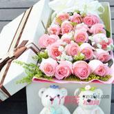 网上花店19朵粉玫瑰2小熊礼盒
