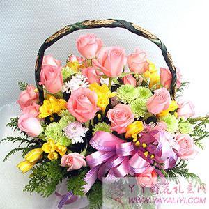 19枝粉玫瑰圓形花籃(單只)