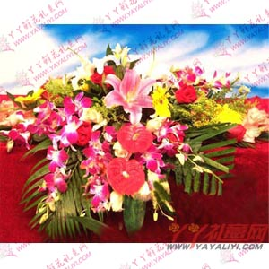 会议鲜花-西安会议鲜花2枝红掌3朵白百合10枝玫瑰6枝剑兰